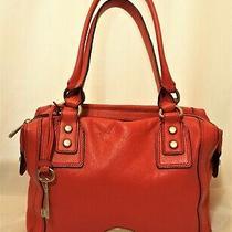 Fossil Long Live Vintage Red Leather Med Shoulder Bag Satchel Purse Exc 12x7x5