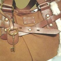 Fossil Long Live Vintage Suede Leather & Fur Tote Handbag Photo