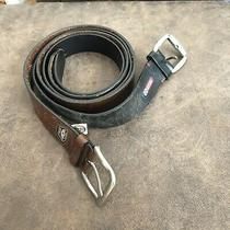 Fossil Lot 2 Brown & Black Leather Mens Belt Sz 38 Width 1.5 Full Grain Cowhide Photo