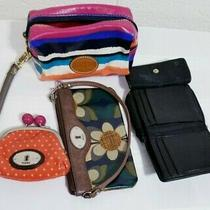 Fossil ( Lot of 4) Wristlet Small Wallet Cosmetic Bag Kiss Lock Coin Purse Photo