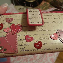 Fossil Love Notes and Hearts Leather Wallet/ Chkbook Beautiful Photo