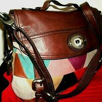 Fossil Lovely Large Multi-Color Maddox Leather Suede Messenger Crossbody in Euc Photo
