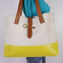 Fossil Lrg Beige Brown Lemon Canvas Leather Shoulder Hobo Tote Satchel Purse Bag Photo