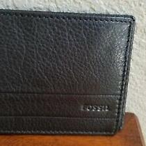 Fossil Lufkin Bifold Wallet Black  1392201 New Photo