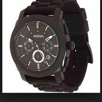 Fossil Machine Chronograph Black Dial Black Silicone Mens Watch Fs4487 Photo