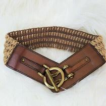 Fossil Macrame Stretch Belt W/genuine Leather and Brass Hardware Sz Sm Photo