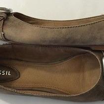 Fossil Maddox Antique Gold Leather Ballet Flat  Toe Buckle New Sz 9.5 M Photo