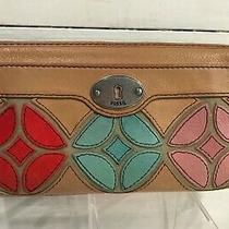 Fossil Maddox Appliqued Tan Leather Clutch Wallet Zip Around  Photo