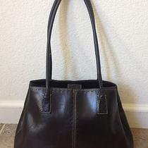 Fossil Maddox Black Glazed Leather Dome Tote Hobo Shoulder Bag Purse Handbag Photo