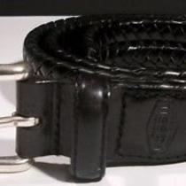 Fossil Maddox Black Premium Leather Braided Weave Silver Buckle Belt 36
