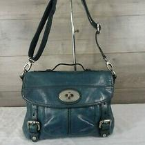 Fossil Maddox Blue Leather Crossbody Shoulder Bag Handbag Tote Purse  Photo
