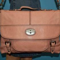 Fossil Maddox Blush Pink Leather Cross-Body Turn-Lock Laptop Messenger Purse Bag Photo