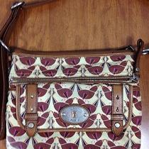 Fossil Maddox Brown Leather Birds Print Canvas Hand Bag Purse  Photo