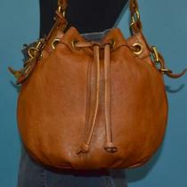 Fossil Maddox Brown Leather Drawstring Hobo Shoulder Bucket Cross-Body Purse Bag Photo