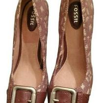 Fossil Maddox Buckle Stacked Brown & Tan Pump Women's Size 7 Heels Photo