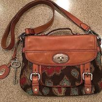 Fossil Maddox Chestnut Leather & Tapestry Crossbody Messenger Long Live Vintage Photo