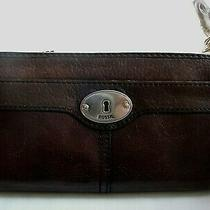 Fossil Maddox Dark Brown Leather Large Clutch Wallet Zip Around Silver Trim Nice Photo