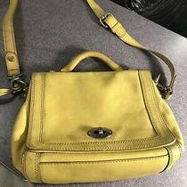 Fossil Maddox Flap Crossbody Purse Bag Leather Yellow Handbag  Photo