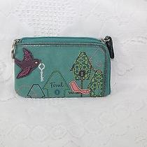 Fossil Maddox Leather Birds & Bird Houses Zip-Around Id Wallet With Key Chain Photo
