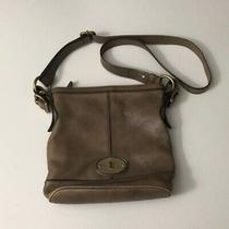 Fossil Maddox Leather Crossbody Messenger Bag Distress Taupe/brown  Photo