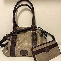 Fossil Maddox Metallic Satchel & Wallet (Never Used) Photo