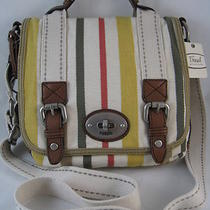 Fossil Maddox Org Flap Stripe Crossbody Purse Bag Nwt Photo