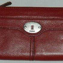 Fossil Maddox Red / Burgundy Leather Clutch Wallet - Excellent Condition Photo