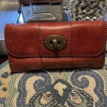 Fossil Maddox Red/wine Soft Leather Tri Fold Clutch Wallet Photo