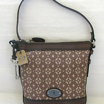 Fossil Maddox Signature Pecanbrown Leather Top-Zip Crossbodyhand Bag Tote Photo