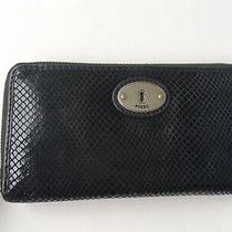 Fossil Maddox Snake Embossed Leather Key Charm Zip Around Clutch Wallet Black  Photo