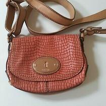 Fossil Maddox Snakeskin Embossed Leather Coral/pink Small Crossbody Bag Photo