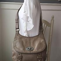 Fossil Maddox Taupe Leather Messenger Crossbody Shoulder Bag 11