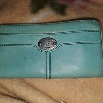 Fossil Maddox Teal Leather Large Clutch Wallet Ziparound Silvertone Accents Euc  Photo
