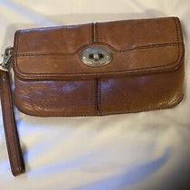Fossil Maddox Wristlet Clutch Wallet Brown Leather Cognac Small Purse Strap Vgc Photo