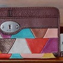 Fossil Maddox Zip Clutch Patchwork Wallet Excellent Condition Photo