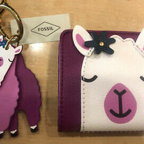 Fossil Madison Bifold Wallet  Pebble Leather With Lama & Key Fob Nwt Photo