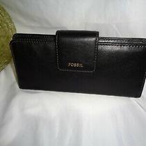 Fossil Madison Clutch Credit Card Wallet Large Slim Bifold Black Leather Photo