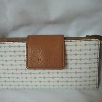 Fossil Madison Clutch Wallet Brown White Leather Nwot Photo