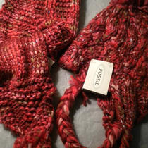 Fossil Madison Scarf/braided Hat Set Multi Reds. Nwt Sale Photo