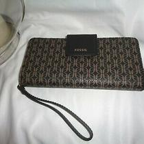 Fossil Madison Zip Clutch Signature Wristlet Clutch Swl2246015 Wallet Photo