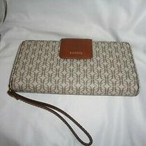 Fossil Madison Zip Clutch Signature Wristlet Organizer Swl2246939 Wallet Taupe T Photo