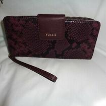 Fossil Madison Zip Clutch Wristlet Purple Black Snake Clutch Wallet Swl228246 Photo