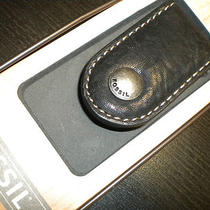 Fossil Mag Money Money Clip in Black Leather Nwt Photo