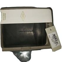 Fossil Magnetic Money Clipper Wallet Black Leather Card Case   Photo