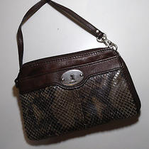 Fossil Marlow Maddox Wallet Leather Snake Skin Zip Clutch Wallet Photo
