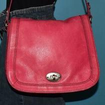 Fossil Marlow Turn-Lock Flap Shoulder Pink Leather Saddle Messenger Bag Purse Photo