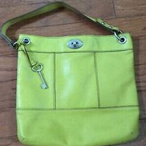 Fossil Marlow Yellow Leather Slim Cross Body Bag Purse Euc Photo
