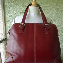 Fossil Maroon Leather Tote Laptop Bag Purse Photo