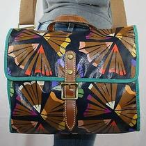 Fossil Med Canvas Leather Shoulder Hobo Tote Satchel Slouch Cross Body Purse Bag Photo