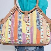 Fossil Med Multicolor Canvas Faux Leather Shoulder Hobo Tote Satchel Purse Bag Photo